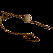 Harlequin Oval Opal Gold Brooch