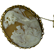 REDUCED Large 18k Oval Cameo Brooch