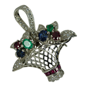 REDUCED Diamonds, Emeralds, Sapphires & Rubies Flower Basket Brooch / Pendent