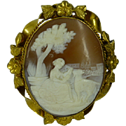 REDUCED Large carved signed Cameo Brooch