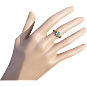REDUCED Elegant Emerald & Diamond 18k Cluster Ring.