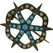 SOLD 1900 Silver Hallmarked Turquoise & Pearl Brooch