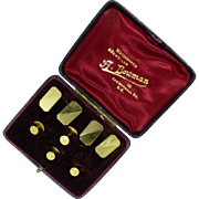 REDUCED Cased Set of English Hallmarked Gold Cuff Link & Studs