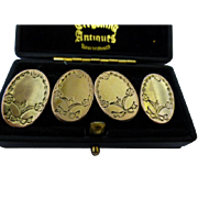 1912 engraved English Gold Cuff Links