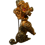 9 ct. Gold standard Poodle with ruby eyes, BROOCH