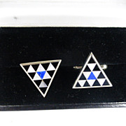 REDUCED Real Black Onyx, Lapis & Mother of Pearl Silver Cuff Links