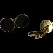 Black Onyx Hexagonal  Gold Hallmarked DRESS Cuff Links
