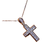 REDUCED Only the the Best …. Platinum Princess Cut Diamond Cross * * * * *