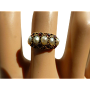 REDUCED George 4th Real Pearl & Garnet 15k Ring