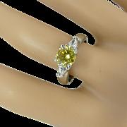 * * * * * Canary Yellow & White  Diamond Platinum Ring  * * * * *