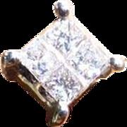 4 Princess  Cut Diamonds 18k Ear Studs