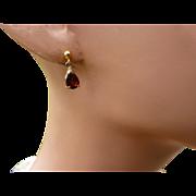 REDUCED Natural Garnet Gold Ear Drops