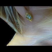 REDUCED Blue Topaz Gold Ear studs