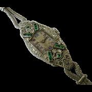 Classic Diamond & Emerald Cocktail Watch