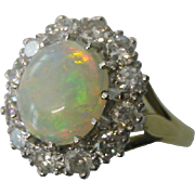 REDUCED Beautiful  fine OPAL & DIAMOND cluster Ring