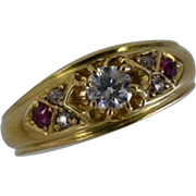 REDUCED 1904 English Hallmarked Diamond & Ruby 18k Ring