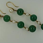 REDUCED Jade & Pearl Gold Ear Drops