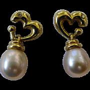 REDUCED Pearl drop, Diamond & Gold Ear Studs