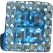 Blue Topaz & Diamond Ear Studs