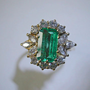 REDUCED Very Fine Emerald & Diamond Ring