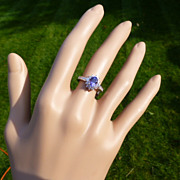 A fine QUALITY  Tanzanite & Diamond Cluster Ring * * * * *