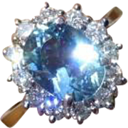 REDUCED Very Fine Aquamarine & Diamond 18k Ring  * * * * *