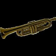 Detailed Model Trumpet Gold Brooch