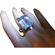 REDUCED Very large Natural Aquamarine Ring * * * * *