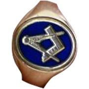 Blue Enamel Oval MASONIC signet ring