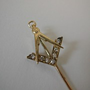 SOLD Diamond & Gold English MASONIC Tie/ Lapel pin
