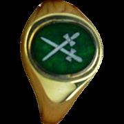 "REDUCED Gold & Enamel Masonic ,""Master of Ceremonies"" Ring."