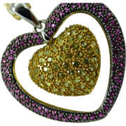 REDUCED Ruby & Citrine 18k Heart Pendent with Chain