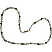 Hematite, Pearl and Gold Necklace