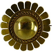 "REDUCED Early Victorian ""Sunburst"" 18k Gold  Mourning Brooch"