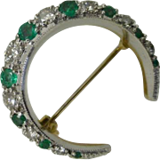 REDUCED Classic vintage Diamond & Emerald crescent Brooch
