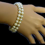 REDUCED Vintage Double 7mm Cultured Pearl 14k Bracelet