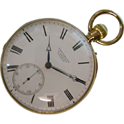 REDUCED Famous  ENGLISH 18ct. Gold Brockbank & Atkins 1870 Pocket Watch