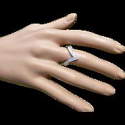 REDUCED Diamond & 18k White Gold WISHBONE Ring.