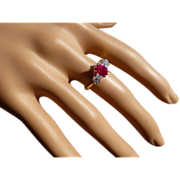 "REDUCED A Classic 3 Stone ""Pigeon Blood"" Ruby & Diamond Ring * * * * *"