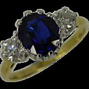 Traditional Classic Sapphire & Diamond 3 Stone Ring * * * * *