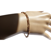 "REDUCED Curb Solid ""figaro"" ROSE Gold Bracelet."
