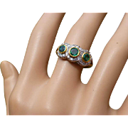 REDUCED Emerald & Diamond triple 18k Cluster Ring