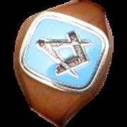Unusual Powder Blue Reversible MASONIC Enamel Ring