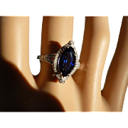 Marquise Shape Sapphire & Diamond Ring