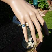 2.22 carat  English  BLUE  ZIRCON 18ct, gold Ring