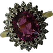 Oval  Pink TOURMALINE & Diamond Cluster Ring