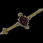 REDUCED Victorian ENGLISH Almandine Garnet & Diamond Brooch