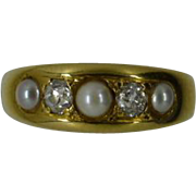 REDUCED ENGLISH 18k 5 stone Prearl & Diamond Victorian Ring