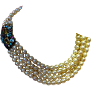 Sibyl Dunlop (1889-1968) Large 4 Row Pearl Necklace with Gem Clasp