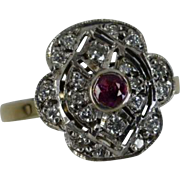 REDUCED 1988 Ruby & Diamond Cluster ring